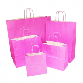 Pink Paper Bags With Twisted Handles
