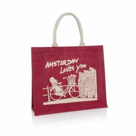 Bespoke Printed Jute Bag Ref Amsterdam Loves You