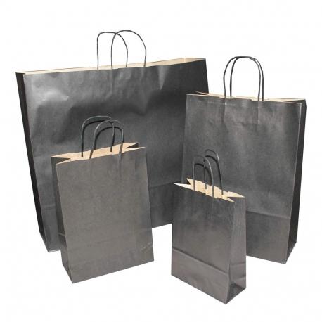 Black Paper Bags Twisted Handle Paper Bags Precious Packaging