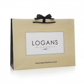 Printed Paper Bags With Black Rope Handles Ref Logans