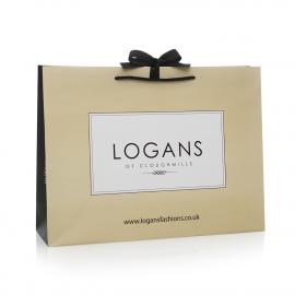 Printed Paper Bags With Black Rope Handles Ref Logans
