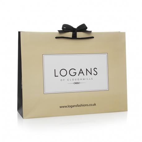 Printed Luxury Matt Paper Bags With Black Rope Handles - Ref.Logans