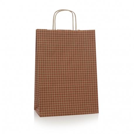 Bespoke Luxury Printed Twisted Handle Kraft Paper Bag Ref Check