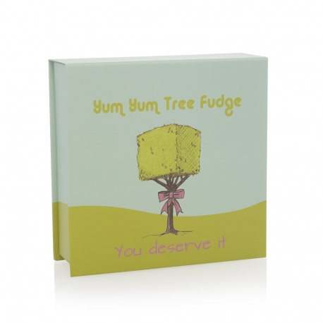Yum Yum Tree Fudge Custom Printed Ribbon Sealed Paper Boxes