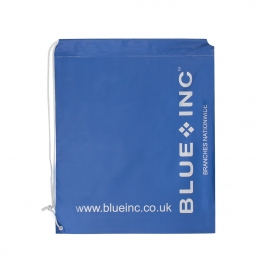 Bespoke Plastic drawstring carrier bag ref Blue Inc