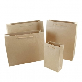 Recycled Natural Brown Paper Bags With Rope Handles