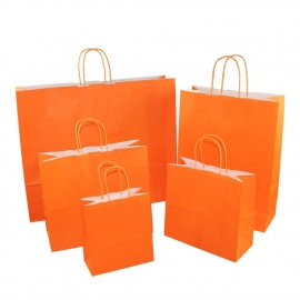 Orange Paper Bags With Twisted Handles