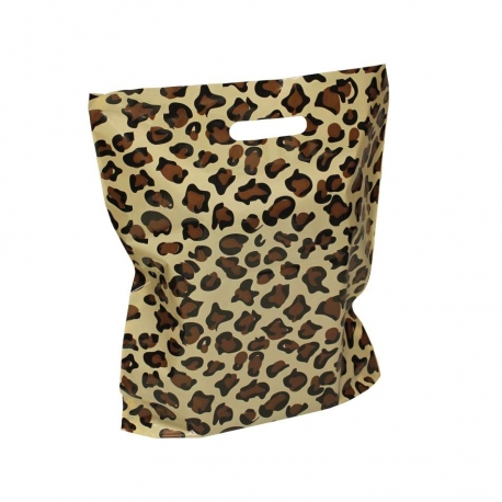 LDPE Plastic Polythene Patch Handle Carrier Bags Leopard Print