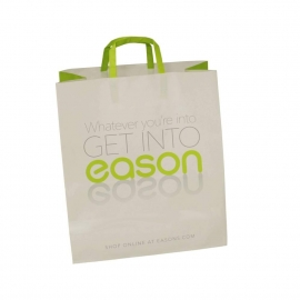Bespoke White Kraft Flat Handle Carrier Bags – Ref. Eason