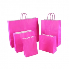 Magenta Promotional Paper Bags With Twisted Handles