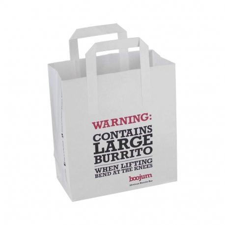 White Kraft Flat Handle Carrier Bags
