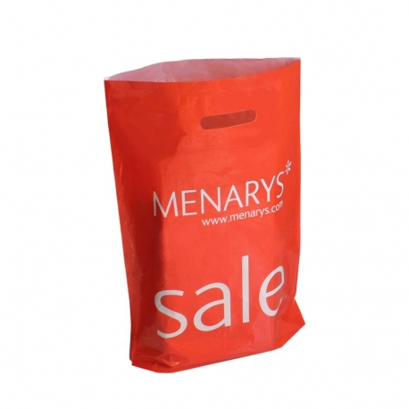 LDPE Patch Handle Carrier Bags Menarys Red