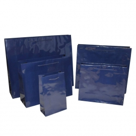 Luxury Navy Gloss Paper Bags With Rope Handles