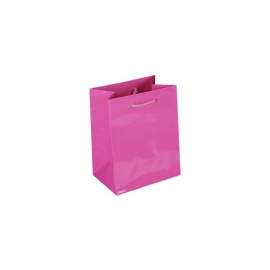 Luxury Pink Gloss Paper Gift Bags With Rope Handles