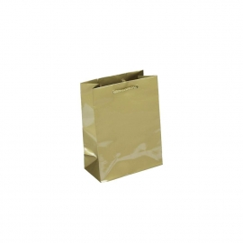Luxury Gold Gloss Paper Gift Bags With Rope Handles