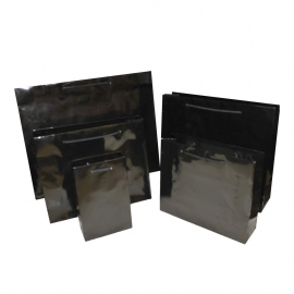 Luxury Black Gloss Paper Bags With Rope Handles