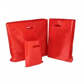 Red Plastic Bags With Punched Out Handles
