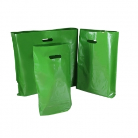 Green Plastic Bags With Punched Out Handles