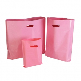 Pink Plastic Bags With Punched Out Handles