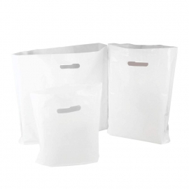 White Plastic Bags With Punched Out Handles