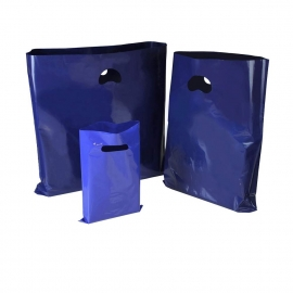 Blue Plastic Bags With Punched Out Handles