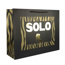 Printed Luxury Matt Rope Handle Paper Bags With Gold Hot Foil - Ref. Solo