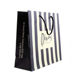 Printed Luxury Striped Paper Bags With Rope Handles - Ref.Dixons