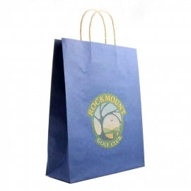 Printed Brown Paper Bags With White Twisted Handles Ref. Rockmount