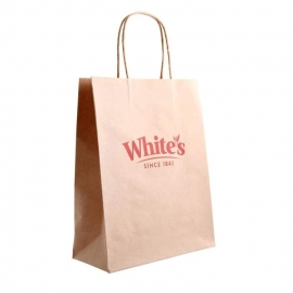 Printed Unvarnished Brown Paper Bags With Twisted Handles - Ref. Whites Oats