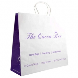 Large Printed White Paper Bags With Twisted Handles - Ref. The Queen Bee