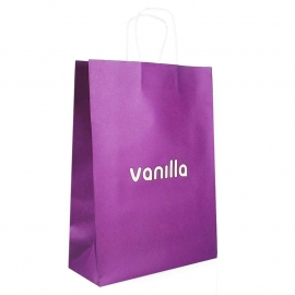 Printed Purple Paper Bags With Twisted Handles - Ref. Vanilla