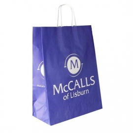 Printed Twisted Handle Paper Bags With One Colour Logo - Ref. The McCalls
