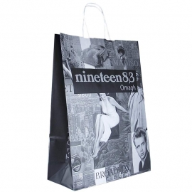 Black & White Printed White Paper Bags With Twisted Handles - Ref. Nineteen83