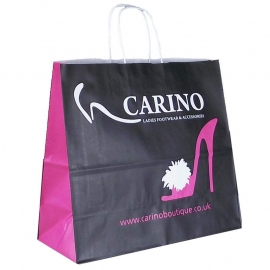 Printed Three Colour Paper Bags With Twisted Handles - Ref. Carino