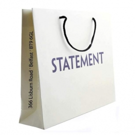 Printed Matt Rope Handle Paper Bag With Bold One Colour Logo-Ref. Statement