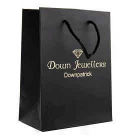 Printed Luxury Matt Paper Bag With Black Rope Handles - Ref. Down Jewellers