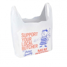 Printed HDPE T-Shirt Bags With Two-Colour Logo - Ref. Butchers