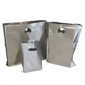 Silver Plastic Bags With Punched Out Handles