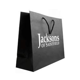 Printed Recycled Black Paper Rope Handle Bags With Silver Hot Foil - Ref. Jacksons