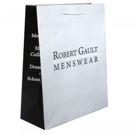 Recycled Grey Paper Bags With White Rope Handles – Ref. Robert Gault