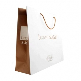 Varnished Recycled White Paper Bags With Rope Handles - Ref. Brown Sugar