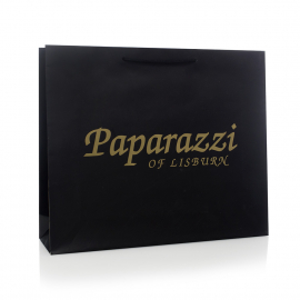 Black Printed Rope Handle Paper Bags With Gold Hot Foil - Ref. Paparazzi